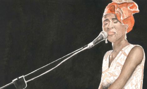 Gli acquerelli che dipingono l'anima infuocata del jazz